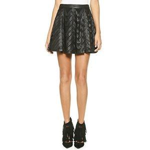 Alice + Olivia Zoe Leather Ribbon Appliqué Skirt